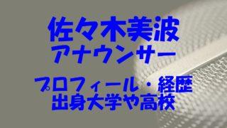 佐々木美波 大学 アナウンサー 千歳 高校