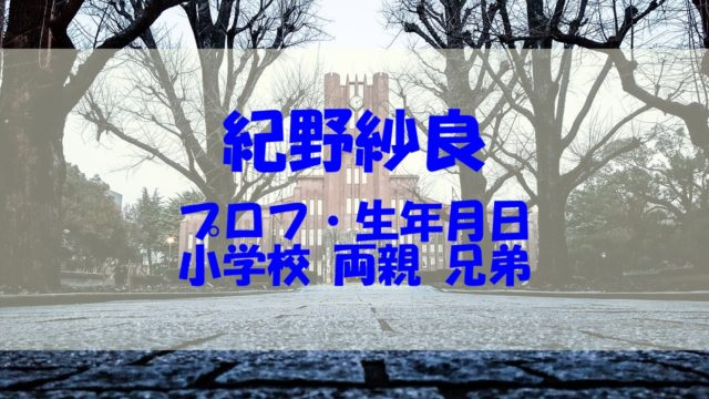 紀野紗良 プロフィール 生年月日 小学校 両親 兄弟